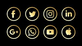 Golden, Luxury and Metallic Social Media Icons and others stock video