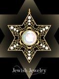 Golden luxury pendant, David star with rich filigree ornaments and cut diamonds,  jewel, historic jew symbol Royalty Free Stock Image