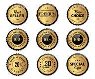 Luxury seal labels gold and premium quality product. Golden luxury seal labels and premium quality set stock vector Royalty Free Stock Photography