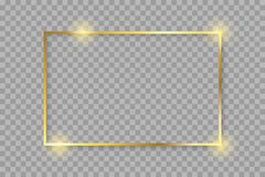 Golden luxury shiny glowing vintage frame with shadows. Isolated on transparent background gold border decoration – vector. Golden luxury shiny glowing stock illustration