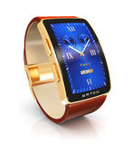 Golden luxury smart watch Stock Photography