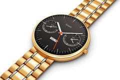 Golden luxury smart watch Stock Image