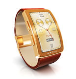 Golden luxury smart watch Stock Photo