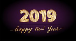 Golden luxury text 2019 Happy new year. Gold Festive Numbers Design with diamonds texture. Gold shining. Happy New Year Banner with 2019 Numbers for greeting royalty free illustration