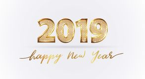 Golden luxury text 2019 Happy new year. Gold Festive Numbers Design with diamonds texture. Gold shining. Happy New Year Banner with 2019 Numbers for greeting stock illustration