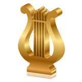 Golden lyre. Vector 3d illustration of golden lyre Royalty Free Stock Images