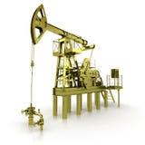Golden Machine Oil Pump. 3d rendering Stock Images
