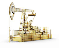 Golden Machine Oil Pump. On white background. 3d illustration Stock Photo