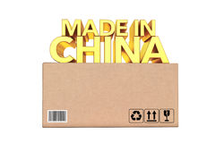 Golden Made In China Sign over Parcel Box. 3d Rendering. Golden Made In China Sign over Parcel Box on a white background. 3d Rendering Royalty Free Stock Image
