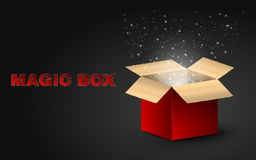 The golden magic box is red with beautiful text. Realistic illustration on a dark background. Beautiful glow from an open box. Fly. Ing fireflies. EPS 10 Stock Photo