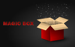 Golden magic box of red color. Realistic illustration on a dark background. Beautiful glow from an open box. Flying fireflies. EPS 10 Stock Photo