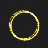 Golden fire ring. Golden magic fire circle ring. Vector illustration Stock Photo
