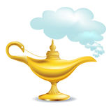 Golden magic lamp with cloud. Isolated royalty free illustration
