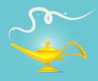 Golden magic lamp design vector. Fairy tale golden magic lamp design. vector illustration vector illustration