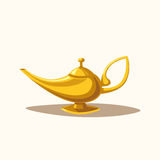Golden magic lamp. Fable. Cartoon vector illustration. Golden magic lamp. Fable. Arabian Fairy tale. Success. Wealth concept. Cartoon vector illustration. Three vector illustration
