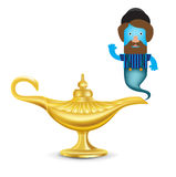 Golden magic lamp with genie isolated on white. Bacground stock illustration