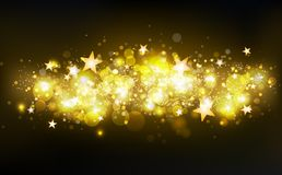 Golden magic shooting stars, decoration, stars motion confetti, dust, glowing particles blurry scatter glitter blinking shine vector illustration