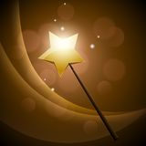 Golden magic wand Stock Image