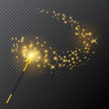 Golden magic wand with glow light effect on transparent background. Vector illustration. Royalty Free Stock Photo