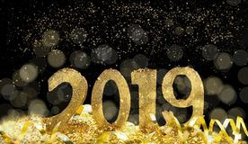 2019 golden and magical new year royalty free stock photography