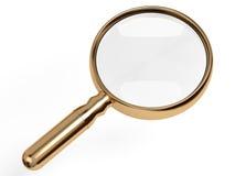 Golden magnifier. Golden magnifying glass on white background stock illustration