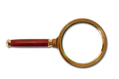 Golden magnifier glass Stock Photo