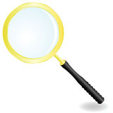 Golden magnifier vector illustration Royalty Free Stock Images