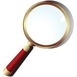 Golden magnifying glass Royalty Free Stock Images