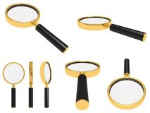 Golden magnifying glass Stock Images