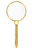 Golden magnifying glass Stock Photos