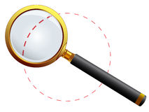 Golden magnifying glass Stock Image