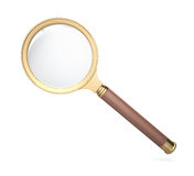 Golden magnifying glass Royalty Free Stock Photo
