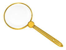 Golden magnifying glass isolated on white Stock Photography
