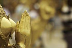 Golden Maiden in Worship Stock Photo