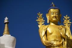 Golden Maitreya Buddha statue in Likir Monastery Ladakh ,India Royalty Free Stock Image