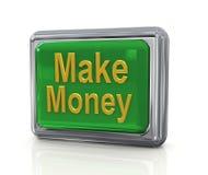 Golden make money. 3d chrome button with golden make money text Stock Images