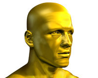 Golden Male Head. 3D rendered portait of a golden man Royalty Free Stock Photography