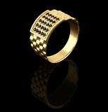Golden male ring on black. Golden male ring with black brilliants Royalty Free Stock Images