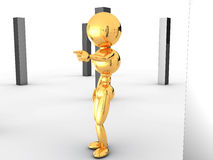 Golden man with black boxes #2 Stock Image
