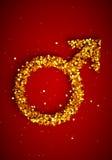 Golden man gender symbol. 3d render image of male gender symbol wih many golden coins Stock Photography