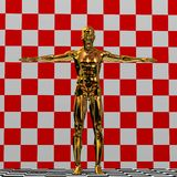 Golden man illustration. Illustration of a golden man with outstretched arms and a red and white checkered background Stock Images