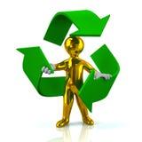 Golden man inside green recycle arrows. Illustration of golden man inside green recycle arrows Stock Photo