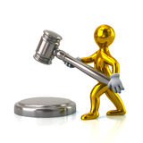 Golden man with a judge gavel royalty free illustration