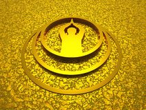 Golden man prayer symbol 3D. 3d symbol on golden structure vector illustration