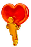 Golden man with red heart. Golden man taking up the big red heart as a symbol of love Stock Photography