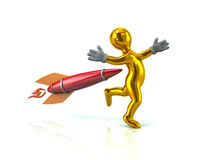 Golden man and rocket. 3d illustration on white background Stock Photos