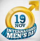 Golden Man`s Symbol with Necktie to Celebrate International Men`s Day, Vector Illustration. Poster with golden man`s symbol decorated with a blue necktie around vector illustration