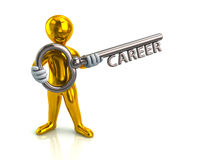 Golden man and silver key with word career Stock Photography