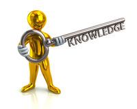 Golden man and silver key with word knowledge Stock Images