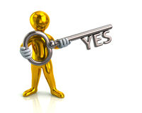 Golden man and silver key with yes Royalty Free Stock Image